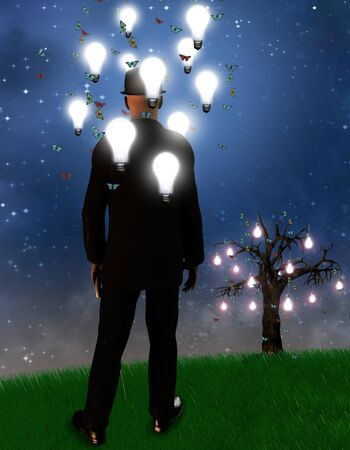 mental object: Paisaje surrealista con bombillas de hombre y de la idea  Foto de archivo