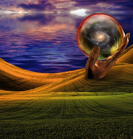 surreal: Strange Landscape with sea at sunset or sunrise Stock Photo