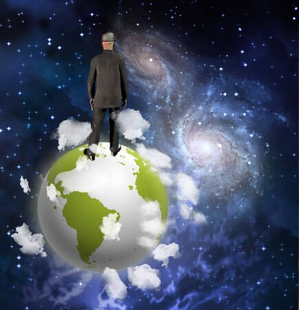 Man On top of the world Stock Photo - 6989332