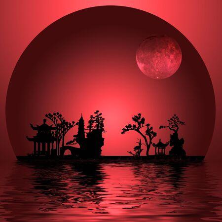 ムーンとアジア風景
