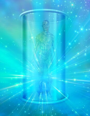 medical technology: Human male figure in transparent container Stock Photo