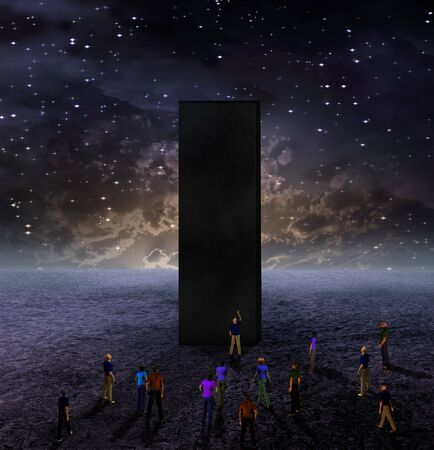 Monolith: Strange Monolith on Lifeless Planet Stock Photo