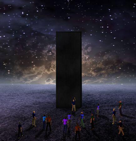 monolith: Strange Monolith on Lifeless Planet Stock Photo