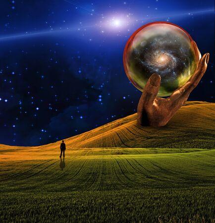 sci: Hombre en Sci fi paisaje  Foto de archivo