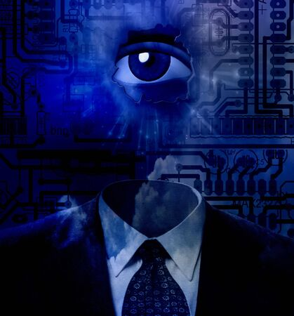 high spirits: Technology abstract with eye and suit Stock Photo