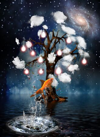 concept magical universe: �rbol de idea  Foto de archivo