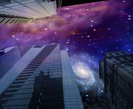 futuristic city: Night sky with galaxy and city buildings