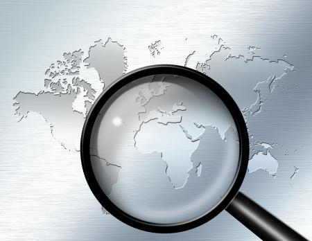 Vergroot glas focus op Afrika  Stockfoto