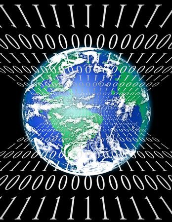 communication concept: Internet World with binary code