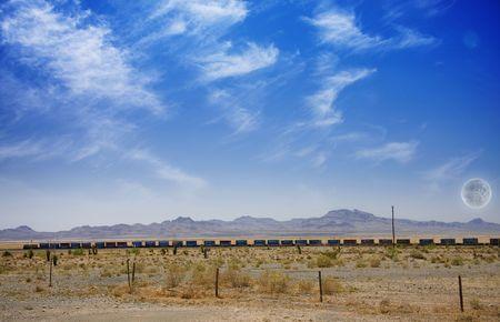 Desert Panorama with Train photo