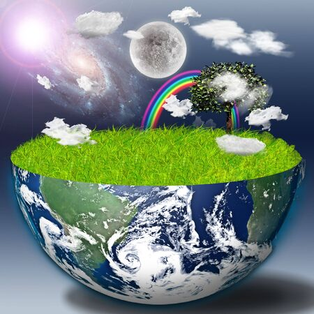 Half earth with green grass and landscape Stock Photo - 7216463