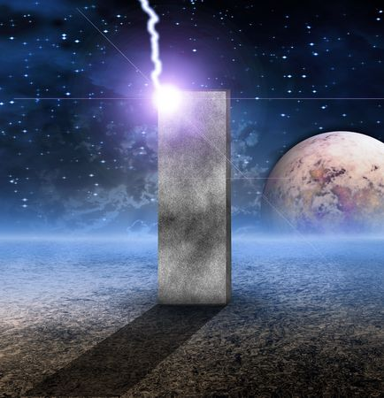 Monolith on Lifeless Planet Stock Photo - 7216468