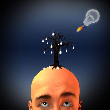 Man with tree of light bulbs and rocket idea photo