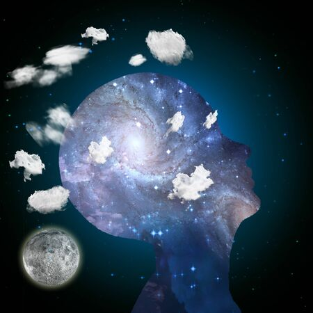 inner beauty: Head in clouds contains space Stock Photo