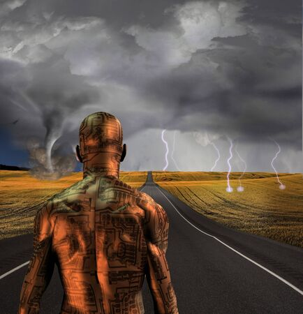 human evolution: Electronic man faces storm Stock Photo