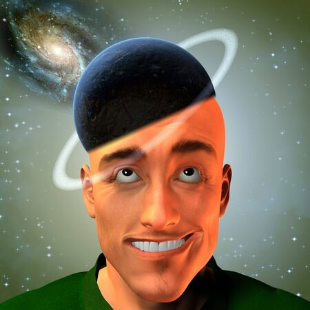 Man with ringed planet for hat and space elements photo