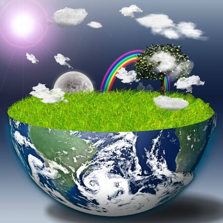 international recycle symbol: Half earth with green grass and landscape