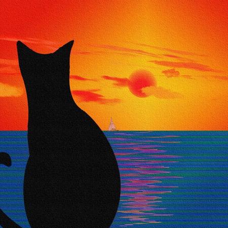 Gatto e paesaggio con trama  Archivio Fotografico - 7352698