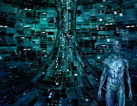 Elektronische man in elektronische ruimte  Stockfoto