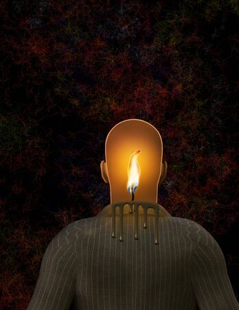 Man with flame in Head photo
