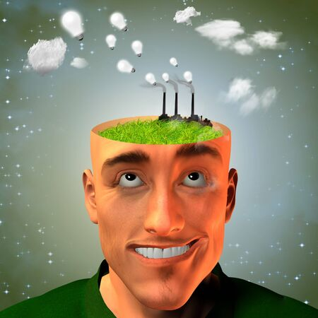 Factory in mans head produces ideas Stock Photo