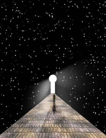 Man before keyhole with starry background photo