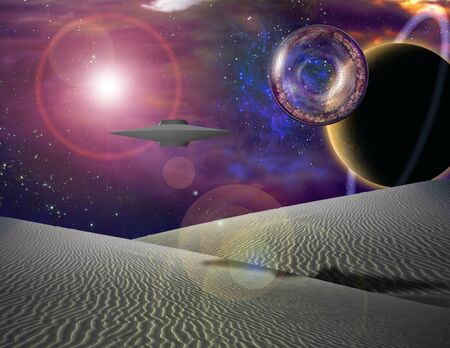 the biosphere: Giant interstaller vehicle contains city floats over sand landscape Stock Photo
