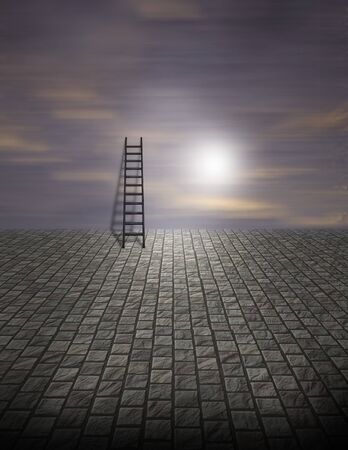 is creative: Spooky Surreal Ladder on Cobblestone Stock Photo