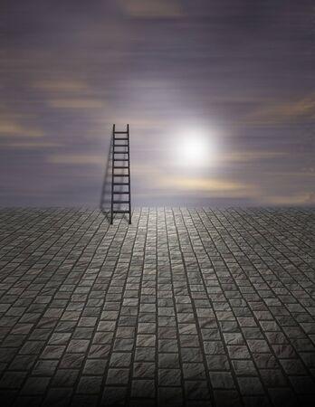 Spooky Surreal Ladder on Cobblestone 版權商用圖片
