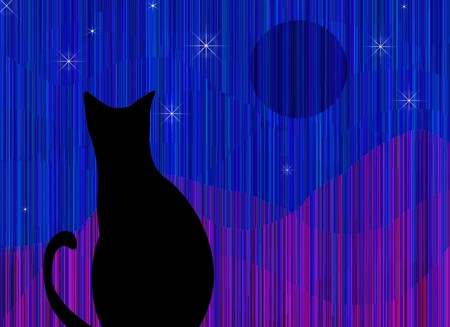 silueta de gato: Gato y paisaje con textura