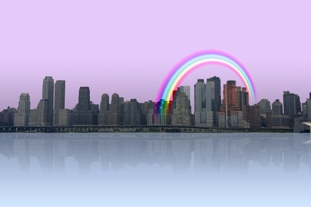 City and reflection with rainbow photo