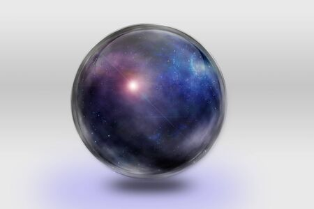contained: Space is contained inside of glass sphere