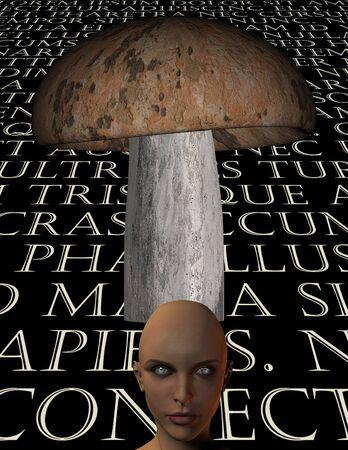 Mushroom with text and strange eyed figure Stok Fotoğraf