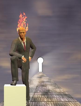 Burning Mind Businessman photo