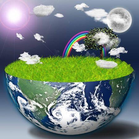 半分に地球の緑の草と風景