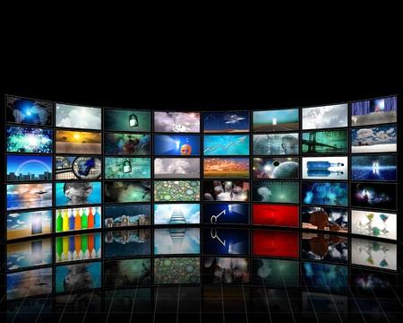video wall: Video Display Stock Photo