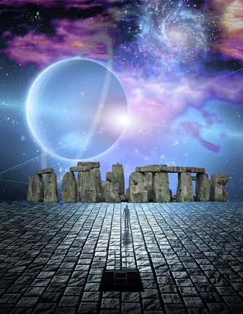 Stone structure in sci fi ike scene Stok Fotoğraf - 7652687