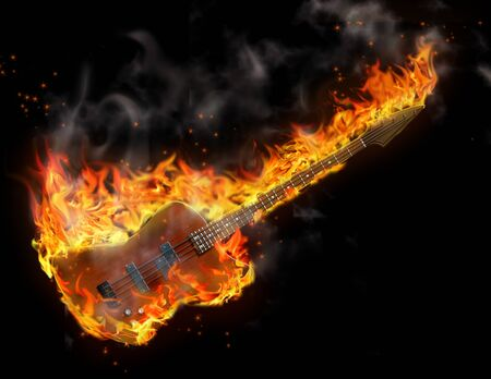 Black background and guitar is in flames Stock Photo - 7652664