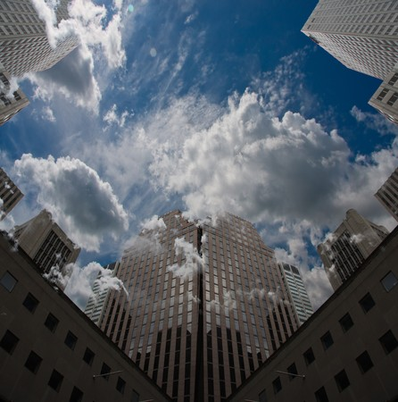 City Sky Scape with clouds and blue sky photo