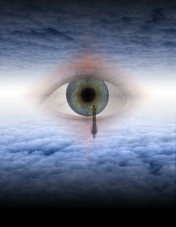 Man looks into eye of god in ethereal space photo