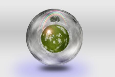 Green globe inside transparent container photo