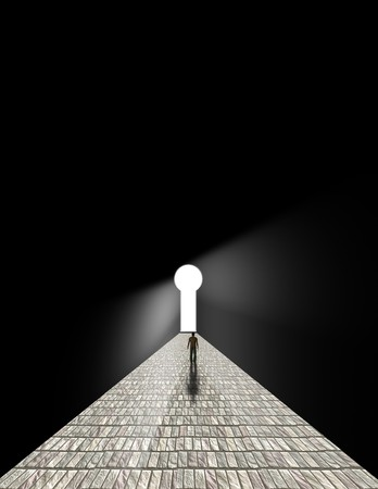鍵穴の前に立っている男 写真素材
