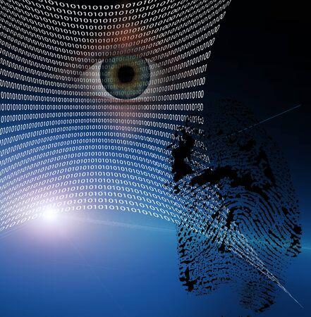 Binary web and fingerprint with human eye photo