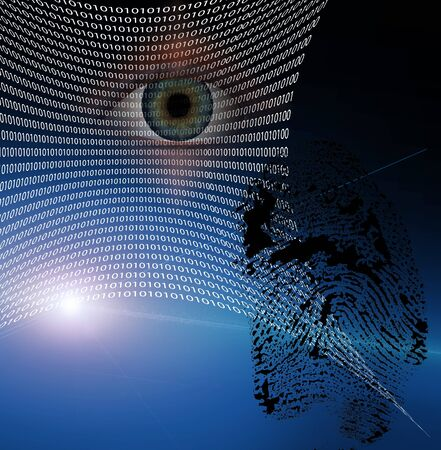 crimes: Binary web and fingerprint with human eye