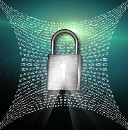 Pad lock with key hole and binary photo