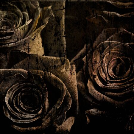 ornamental background: Roses and rough grunge texture
