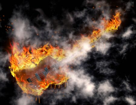 Guitar in flames melts and smoke before black Stock Photo - 7652660