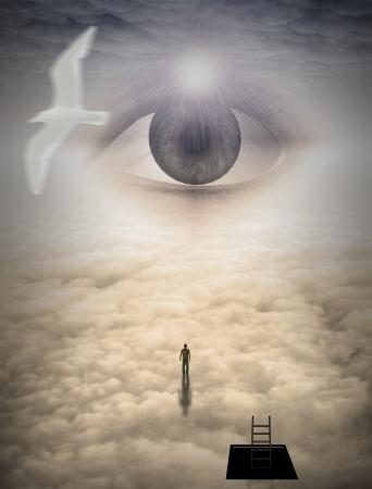 light god: Man climbs to heavens
