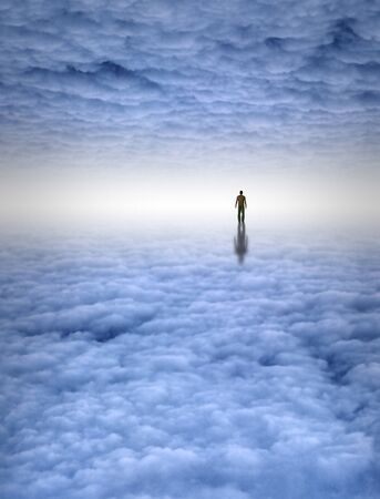 Tiny man in large white cloud filled space photo