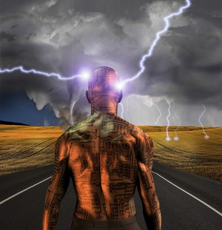 Electronic man faces storm Stock Photo - 7695521